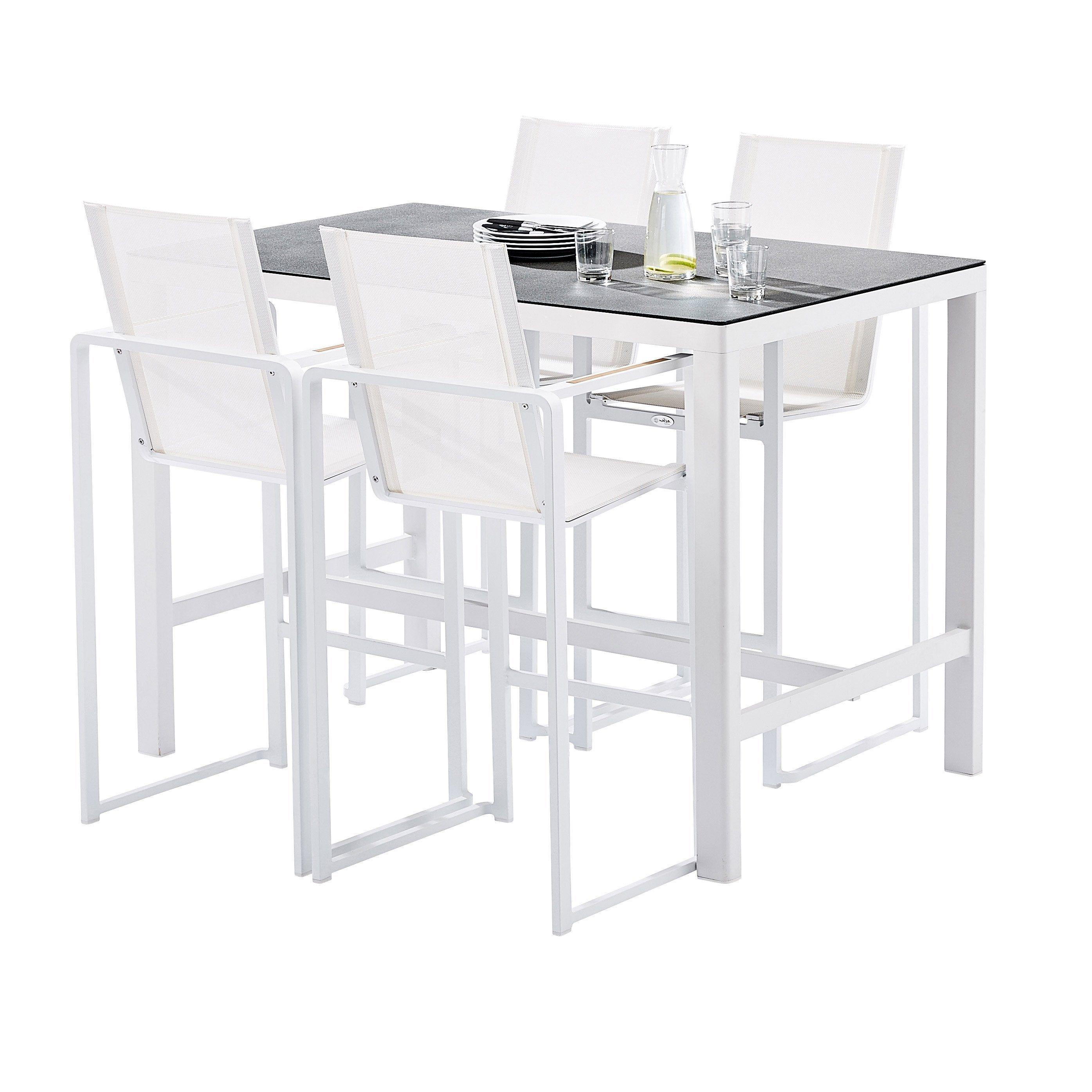Salon De Jardin Wilsa Barset Haut T4 Aluminium Blanc 4 Personnes