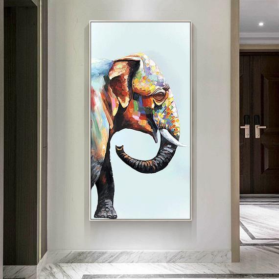 Animal Painting Africa Elephant Decor Palette Knife Framed Etsy Canvas Painting Animal Paintings Painting