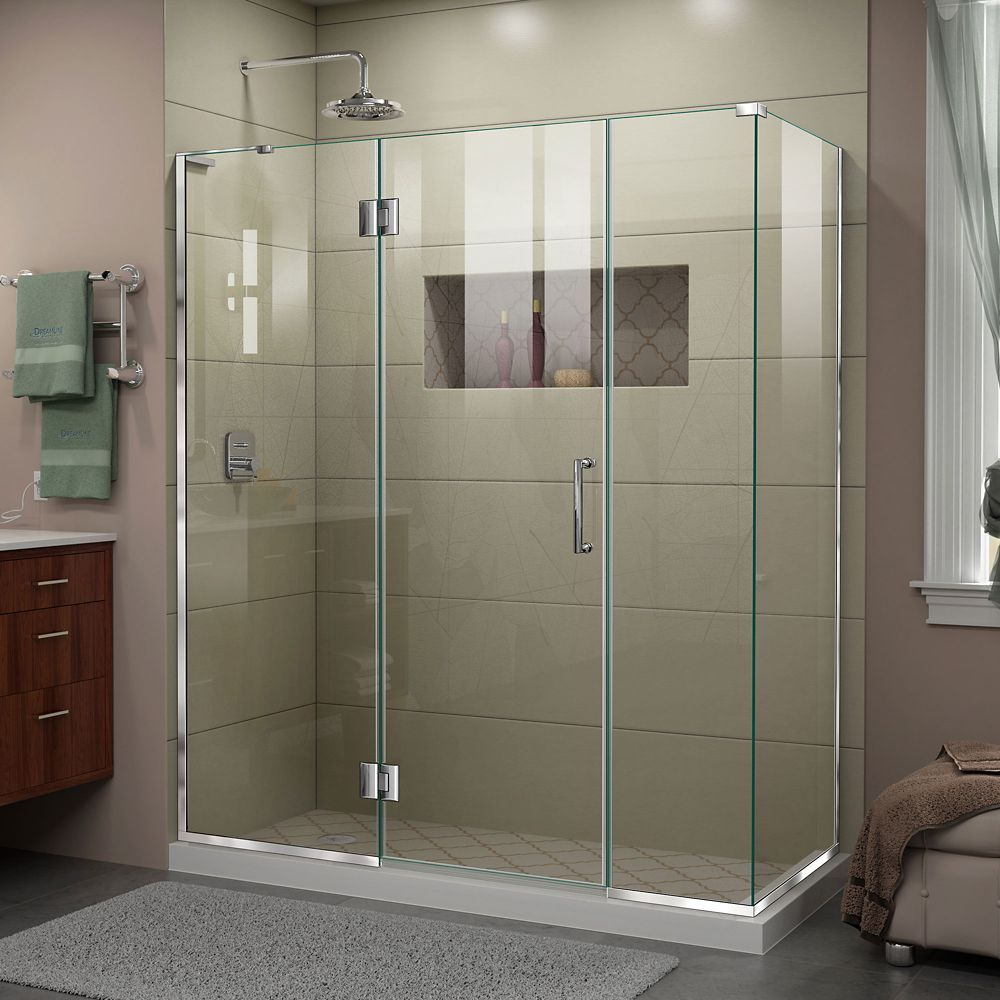Unidoor X 64 1 2 Inch W X 34 3 8 Inch D X 72 Inch H Frameless Shower Enclosure In Chrome Finish Shower Doors Frameless Shower Enclosures Shower Enclosure