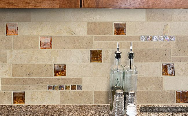 Glass Subway Tile Backsplash | ... Cabinets & Countertop Mixed with  Travertine Glass Backsplash
