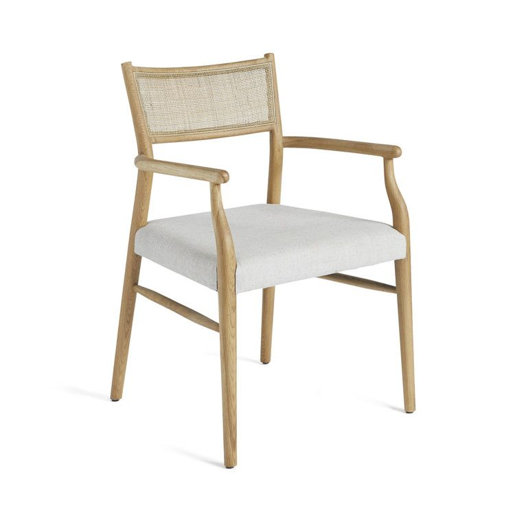 Oak Rattan Back Cushioned Armchair In 2020 White Leather