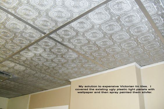 wall paper over acoustic ceiling tiles For the basement bedrooms ...