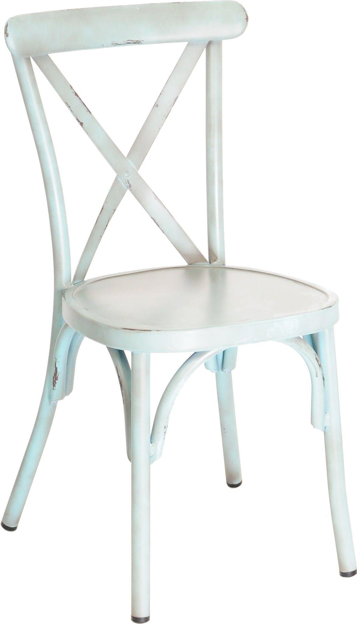 Chaise Cross Aluminium Empilable Finition Vintage Bleu Chaise Restaurant Chaise Terrasse Chaise