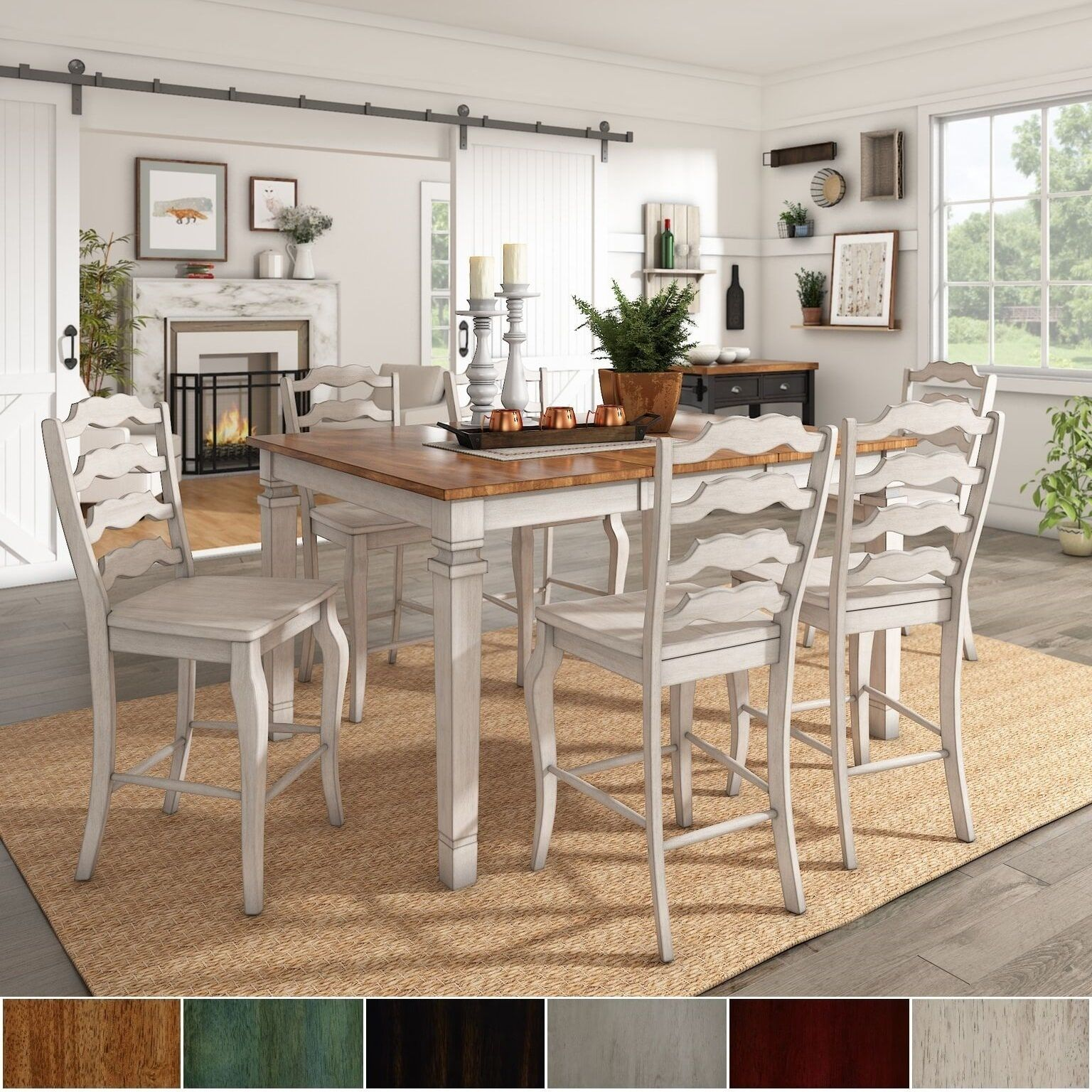 Elena Antique White Extendable Counter Height Dining Set