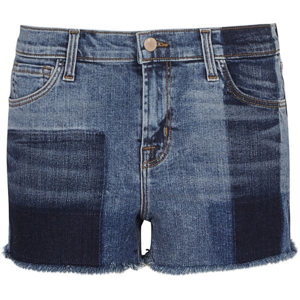 J Brand 1044 Patchwork-effect Denim Shorts - Size W23 (907.645 COP) ❤ liked on Polyvore featuring shorts, short jean shorts, patchwork shorts, blue denim shorts, patchwork denim shorts and denim short shorts