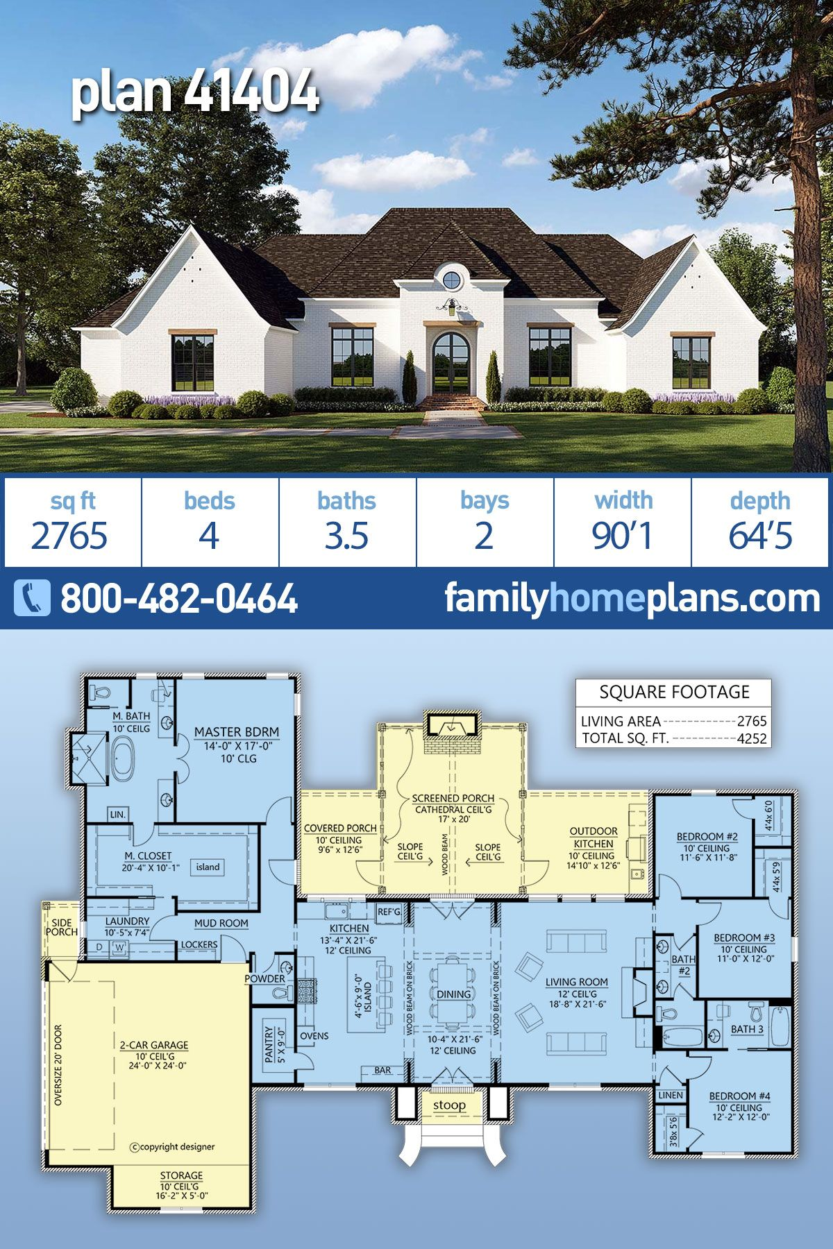 Traditional Style House Plan 41404 With 4 Bed 4 Bath 2 Car Garage French Country House Plans Country House Plans Family House Plans
