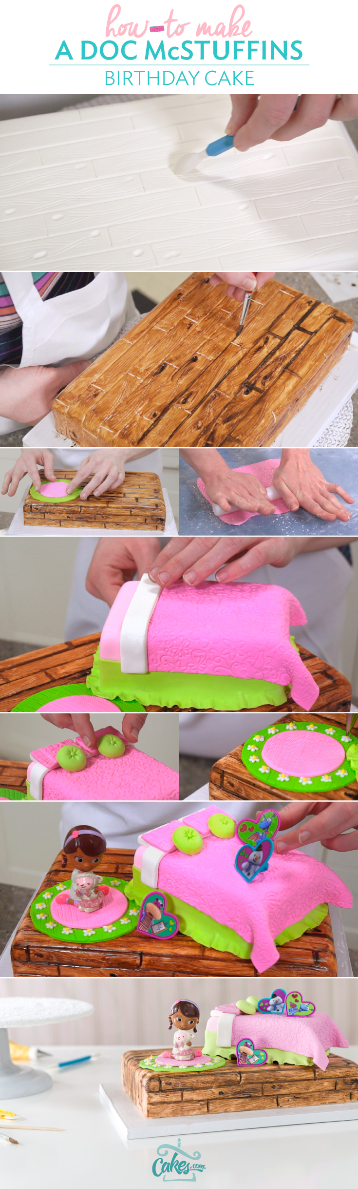 Click for step-by-step tutorial so you can make a Doc McStuffins birthday party cake with fondant details.