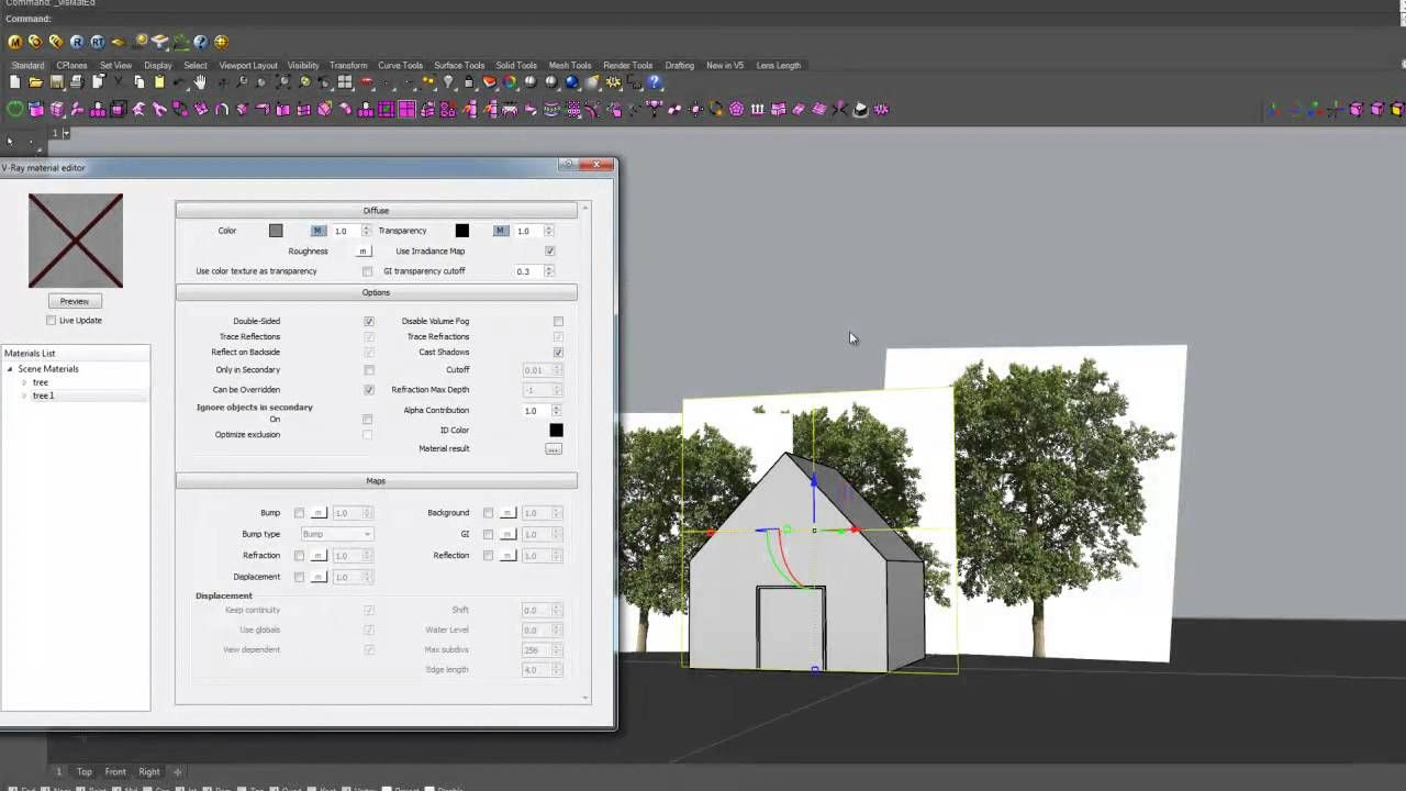 how to render trees directly into a perspective with vray for rhino