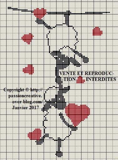 Grille gratuite point de croix : Moutons amoureux et coeurs rouges | Animaux de point de croix ...