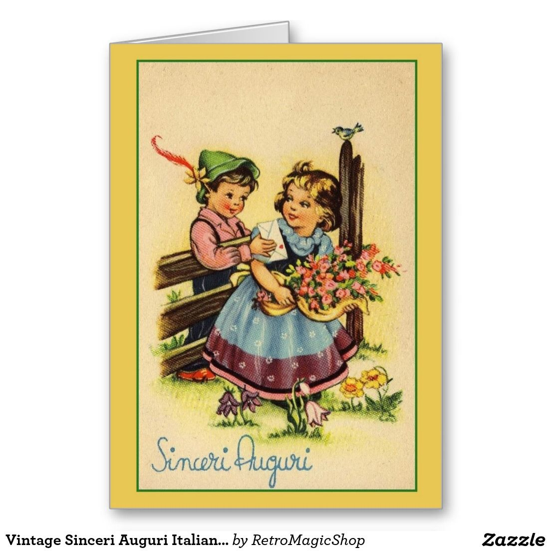 Vintage Sinceri Auguri Italian Birthday Card Pinterest Birthdays