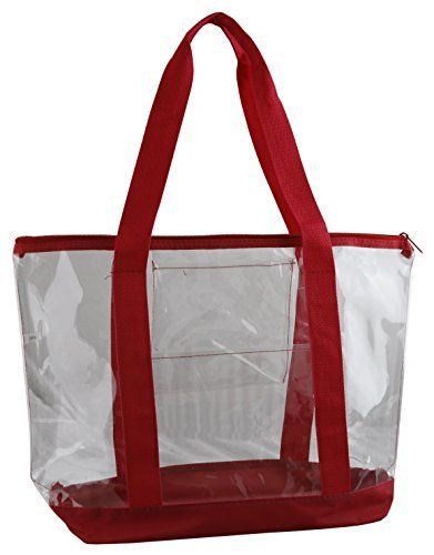 7337f841891d Large Clear Tote Bag with Zipper Closure (Red) This large and sturdy ...