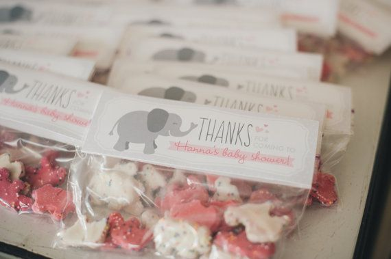 Baby Shower Party Favors Elephant ~ Printable favor tags pink and gray elephant by printsforevents