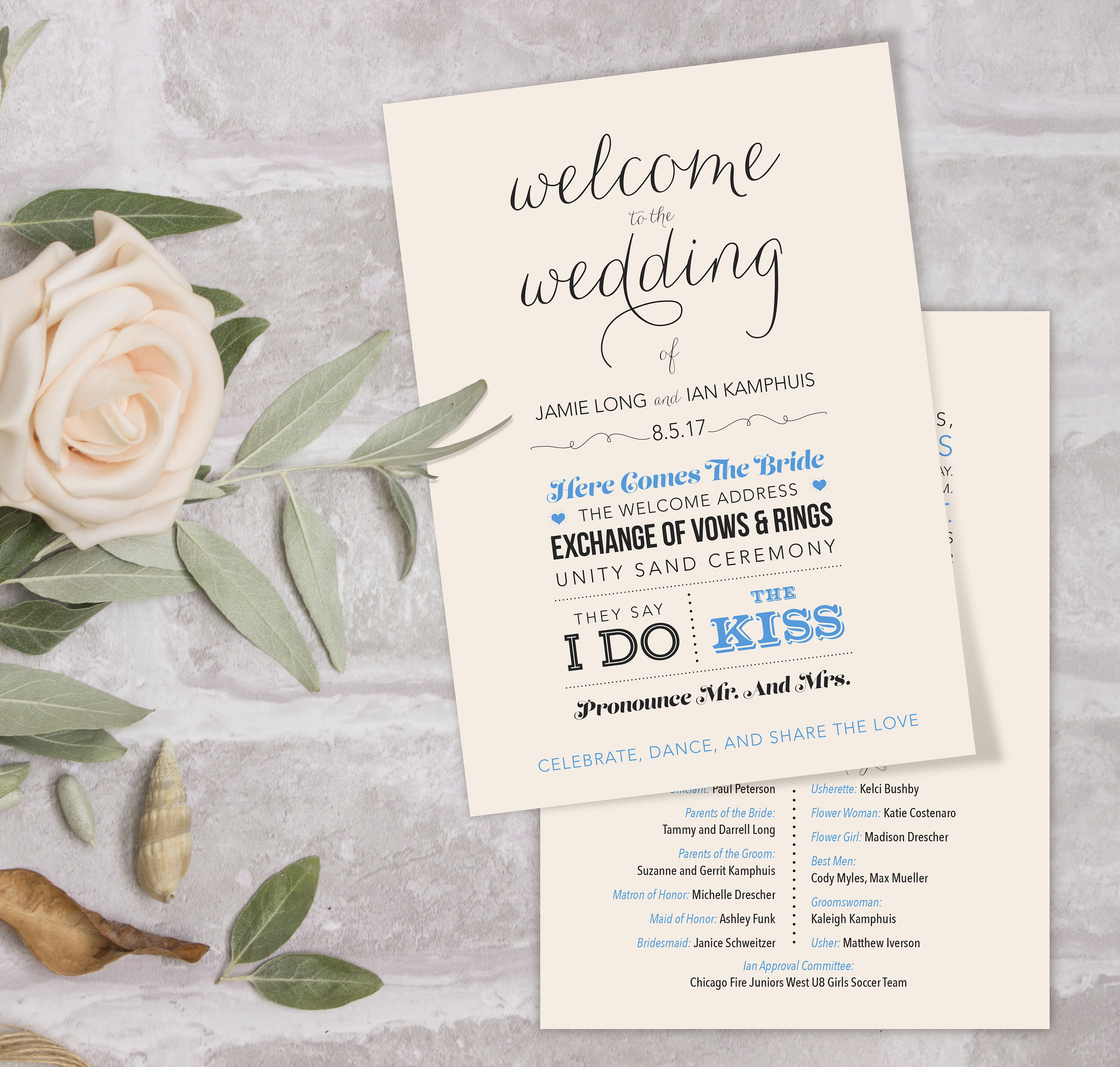 DIY your wedding program fans starting with this beautiful \