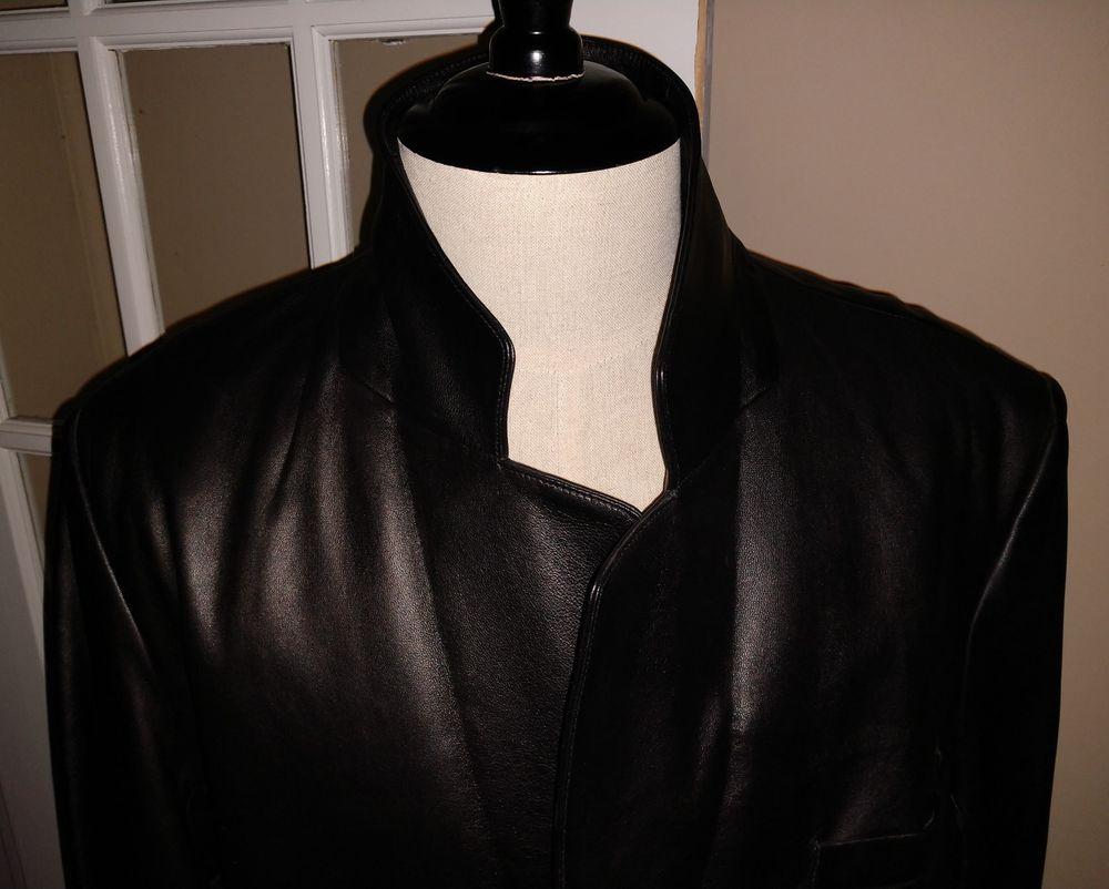 aae2ff11317 Mens Roundtree   Yorke Black Lambskin Leather Car Coat Blazer Medium ...