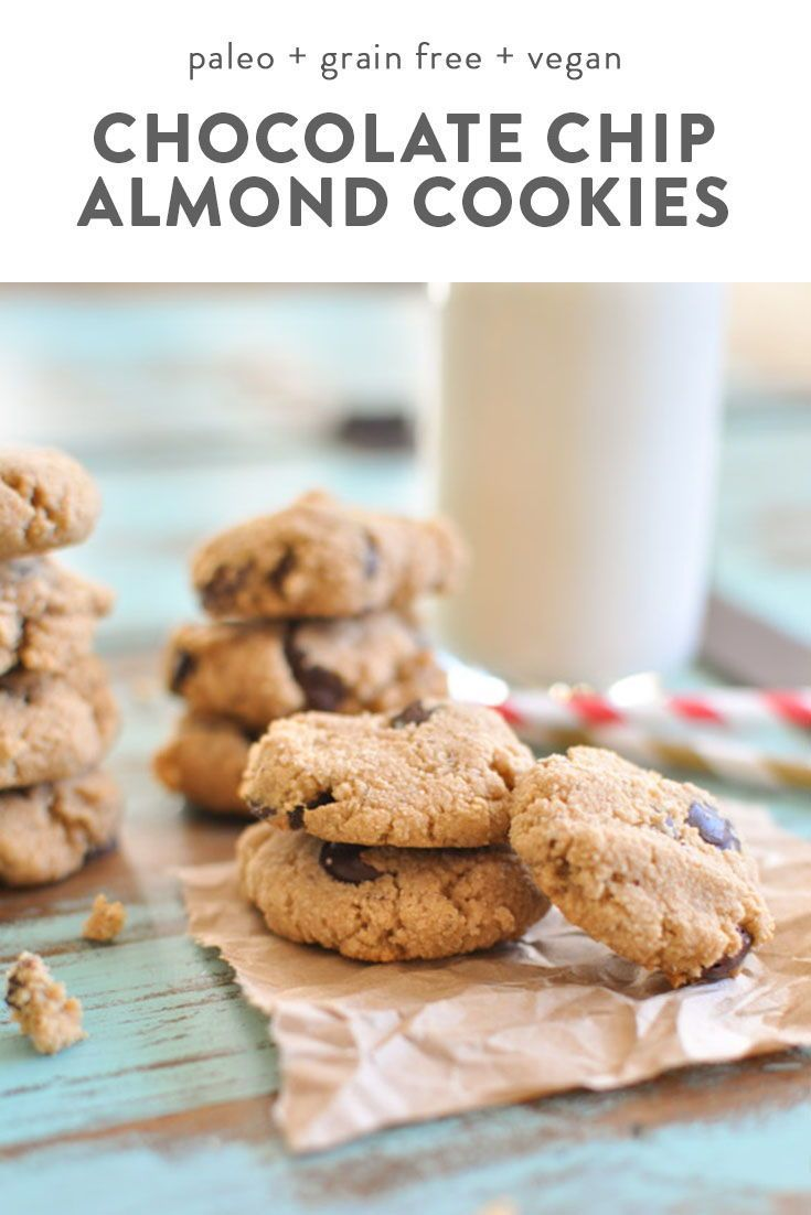 Almond Flour Paleo Chocolate Chip Cookies Gluten Free Clean Eating Dairy Free Vegan