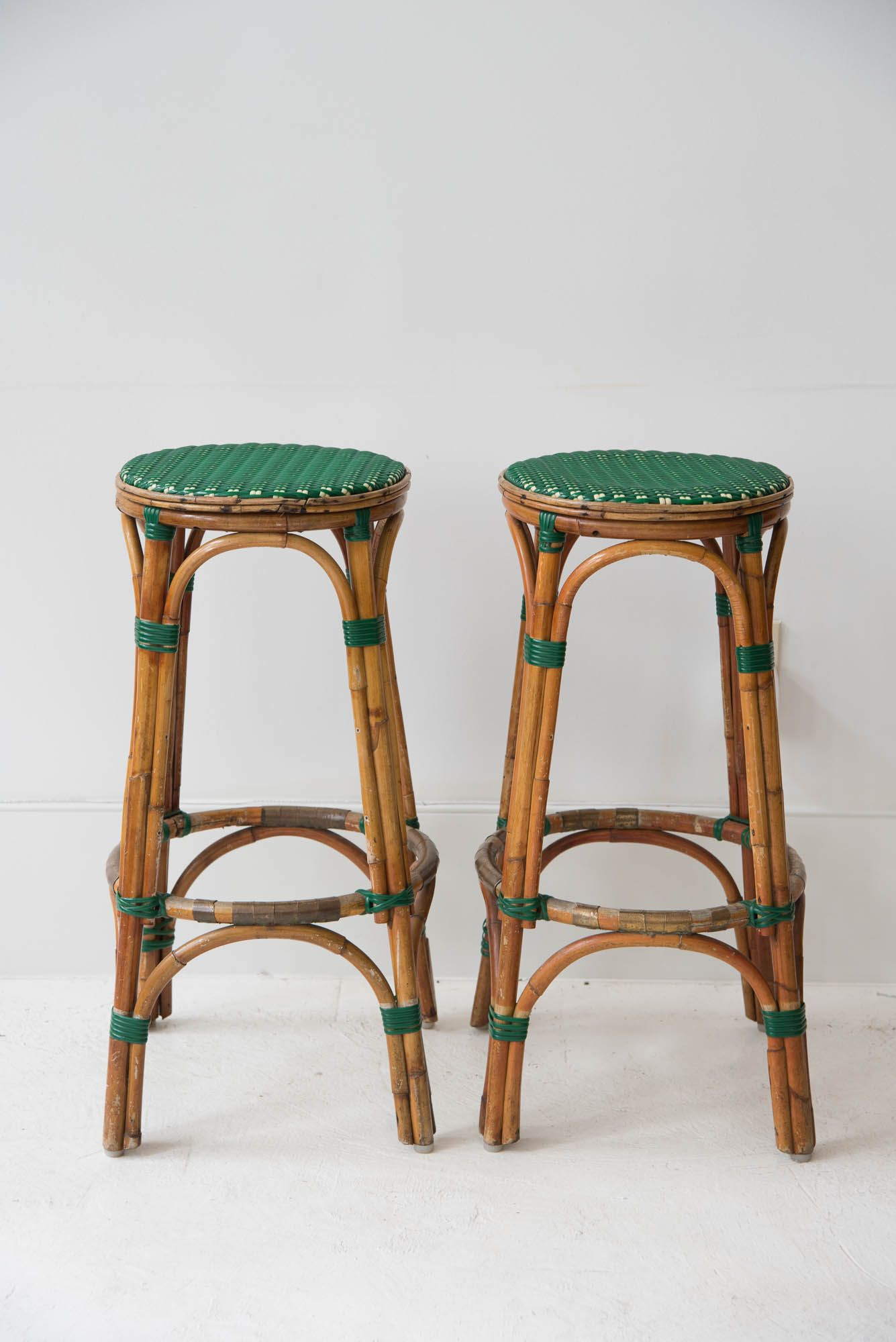 A Fabulous Set Of Four French Vintage Rattan Bar Stools With Green