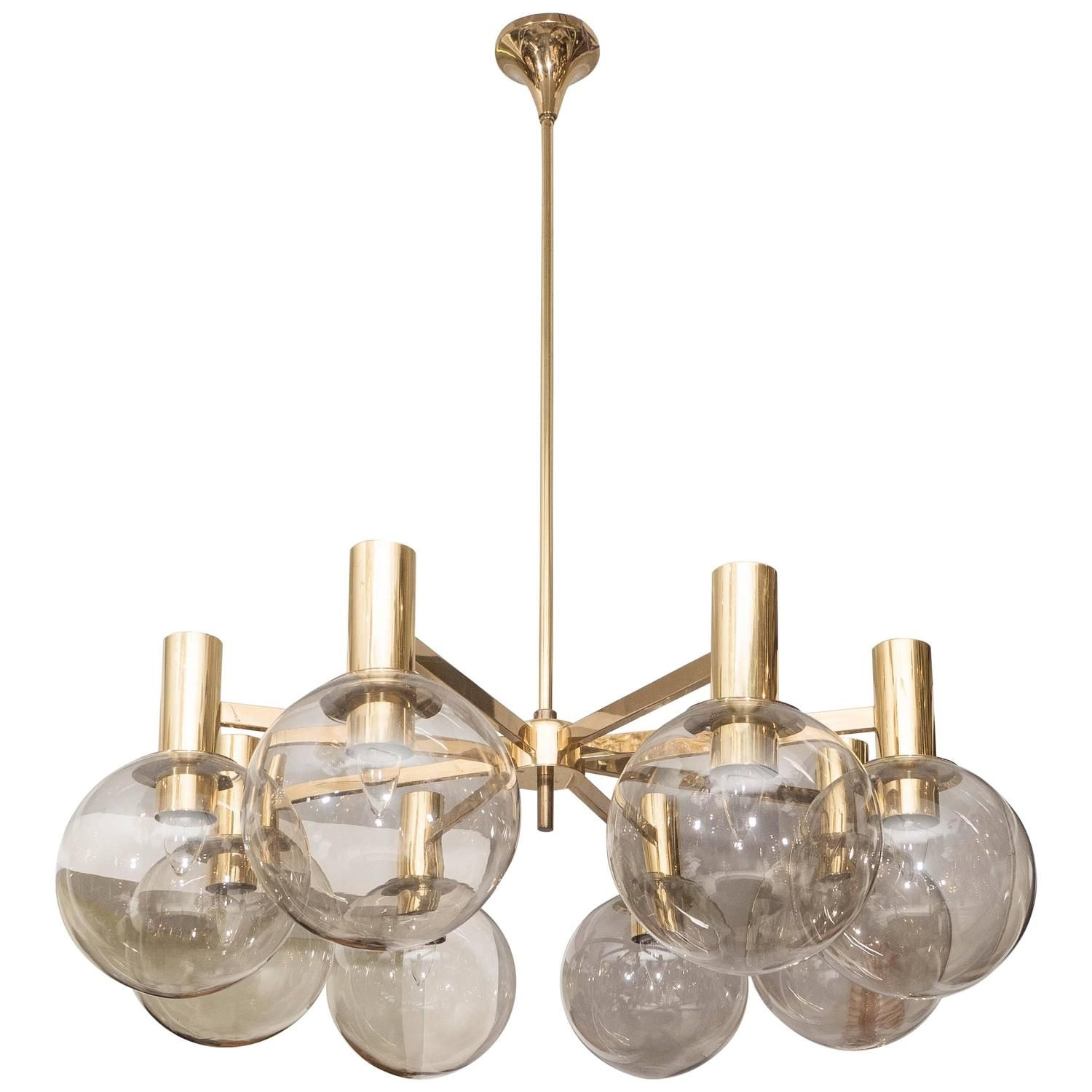 1970s Hans Agne Jakobsson Smoked Globes And Brass Light Fixture Brass Light Fixture Light Fixtures Brass Lighting