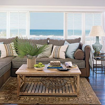 a cure for the common condo brown living roomscoastal - Coastal Living Decor