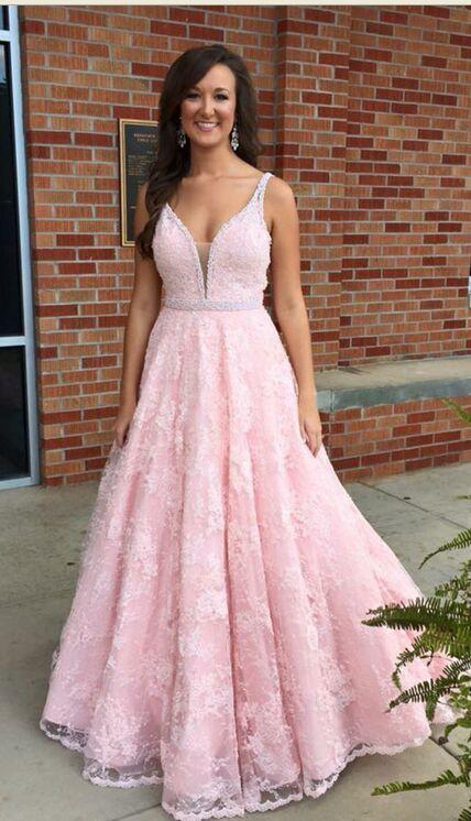 Lace Dresses,Girly Prom Dresses,Modest Sparkly Prom Dresses,Long V ...