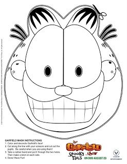 Heck Of A Bunch Garfield Halloween Coloring Mask Garfield Birthday Halloween Coloring Garfield
