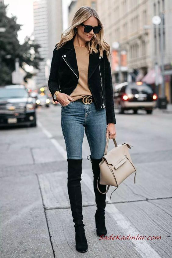 2020 En Trend Kis Kombinleri Mavi Kot Pantolon Kahverengi Kazak Siyah Kisa Ceket Uzun Nubuk Cizme Tarz Moda Moda Stilleri Moda Kombinleri