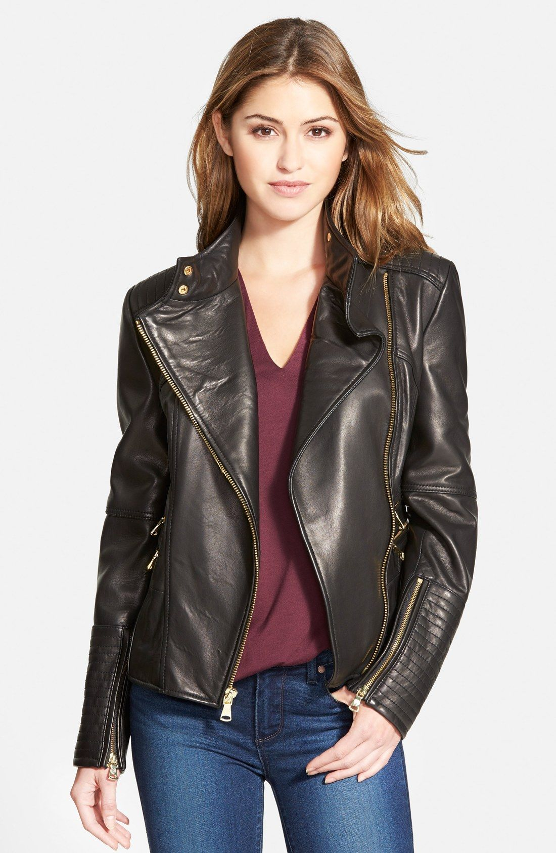 Vince Camuto Asymmetrical Leather Moto Jacket Online Only Nordstrom Clothes Leather Jackets Women Coats For Women [ 1687 x 1100 Pixel ]