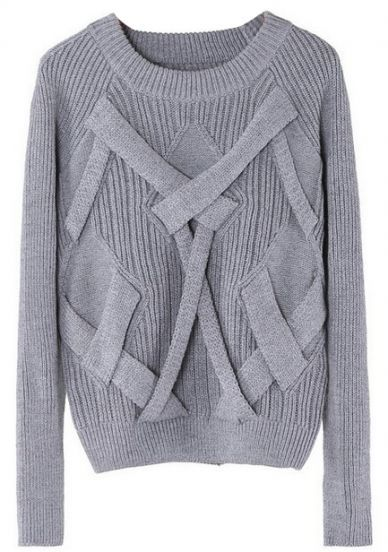 Grey Reglan Sleeve Cross Bandage Vertical Stripe Knitting Sweater pictures