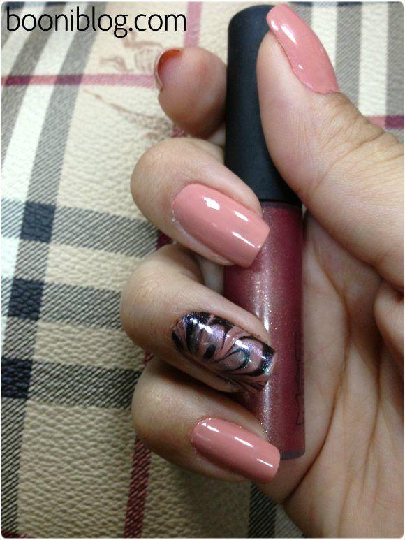Flower water marble nail art  #nails #nailart