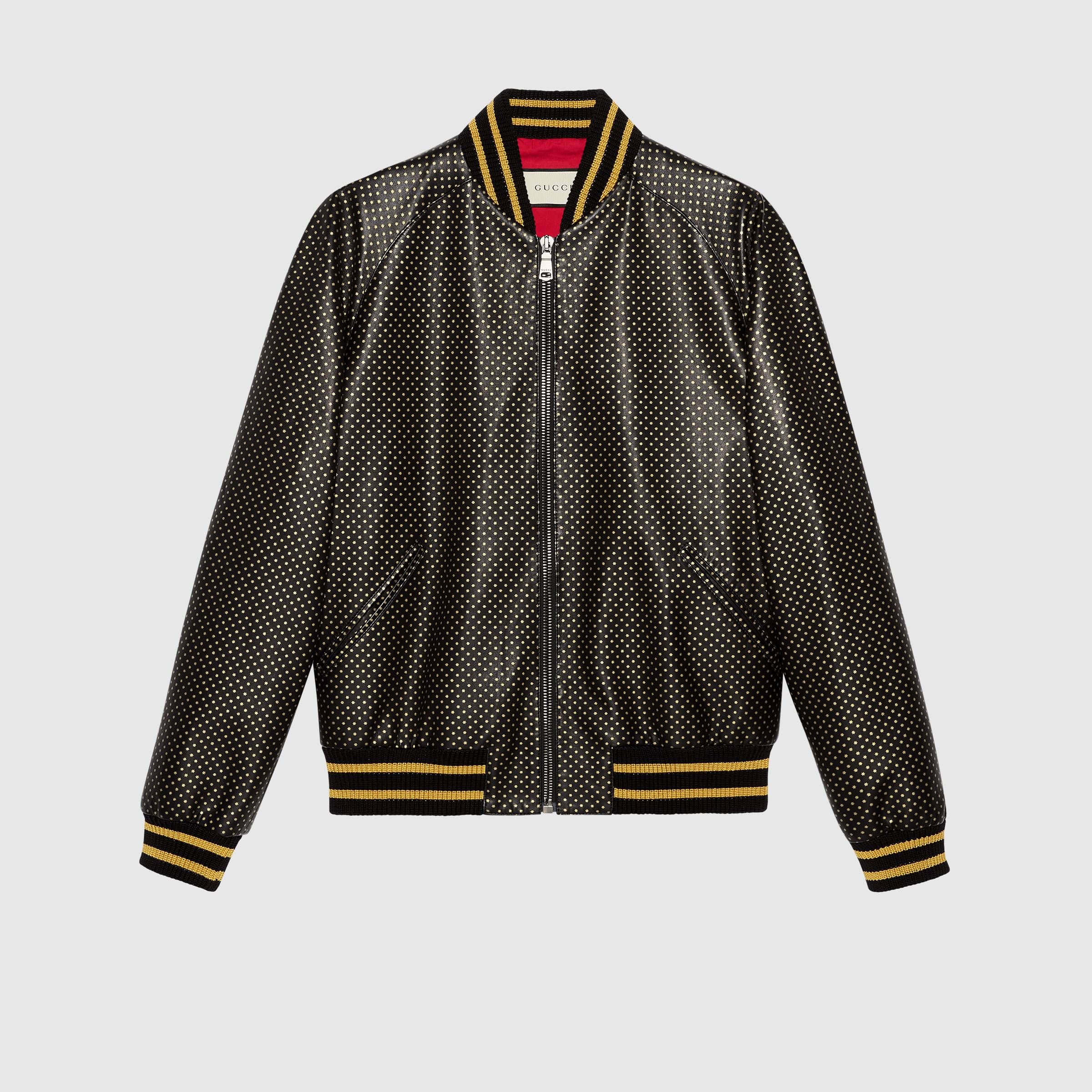 10051f3eb62753 Guccy leather bomber jacket - Gucci Men s Leather   Casual Jackets  519556XG6411815