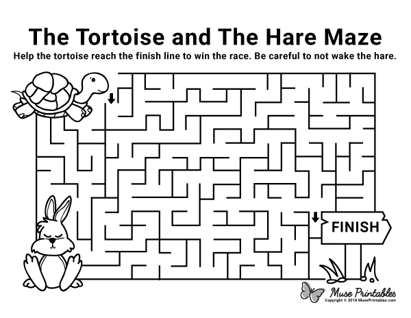 Free printable The Tortoise and the Hare maze. Download it