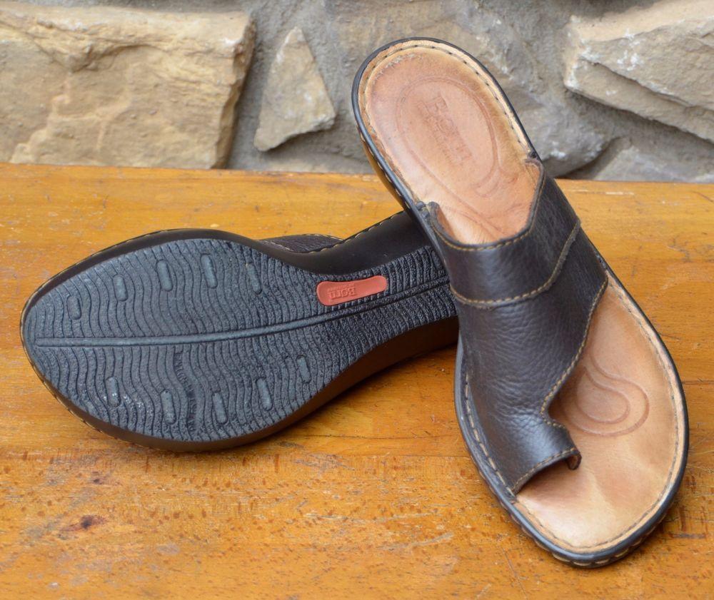9266fc8f940 BORN Womens Black Leather Sandals Toe Loop Slide Wedge Heel Shoes 8 EUR 39   Born  Slides  Casual
