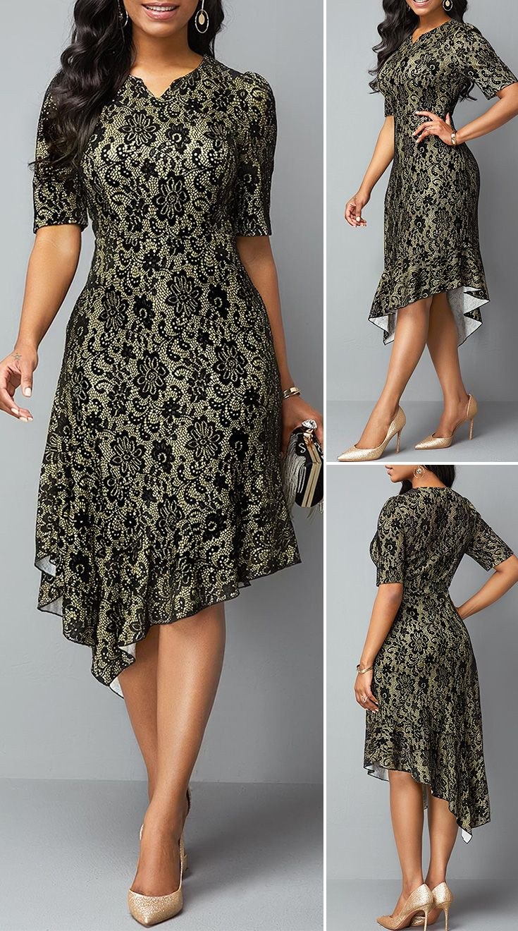 Half Sleeve Split Neck Asymmetric Hem Lace Dress
