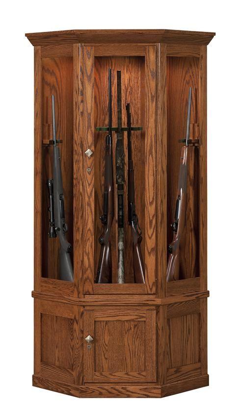 Amish Mission 14-Gun Corner Cabinet with Carousel | Wood gun ...