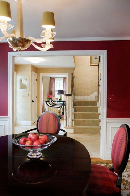 24 Hot Cranberry Monochromatic Rooms Digsdigs Red Dining Room Small Dining Room Decor White Wainscoting