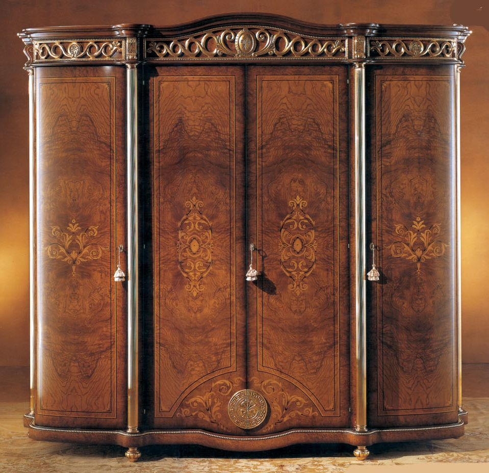 Beau Honey Walnut 4 Door Wardrobe Armoire