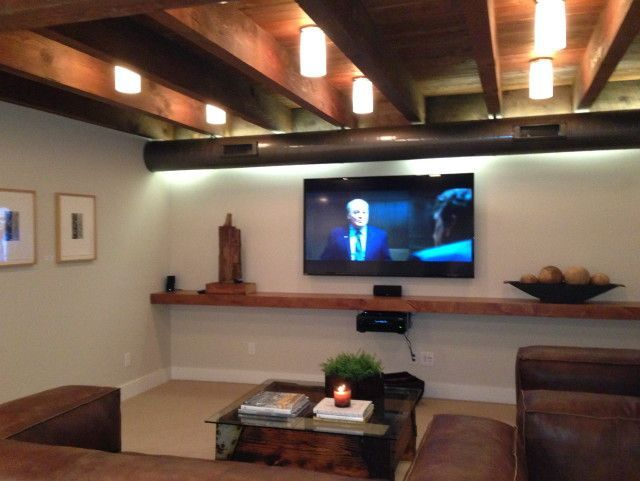Basement Home Theater  basement ideas on a budget  Tags  basement ideas  finished  unfinished basement ideas  basement ideas diy  small basement  ideas  Interesting lights for the space  Tabitha likes the hanging shelf  . Exposed Basement Ceiling Lighting Ideas. Home Design Ideas