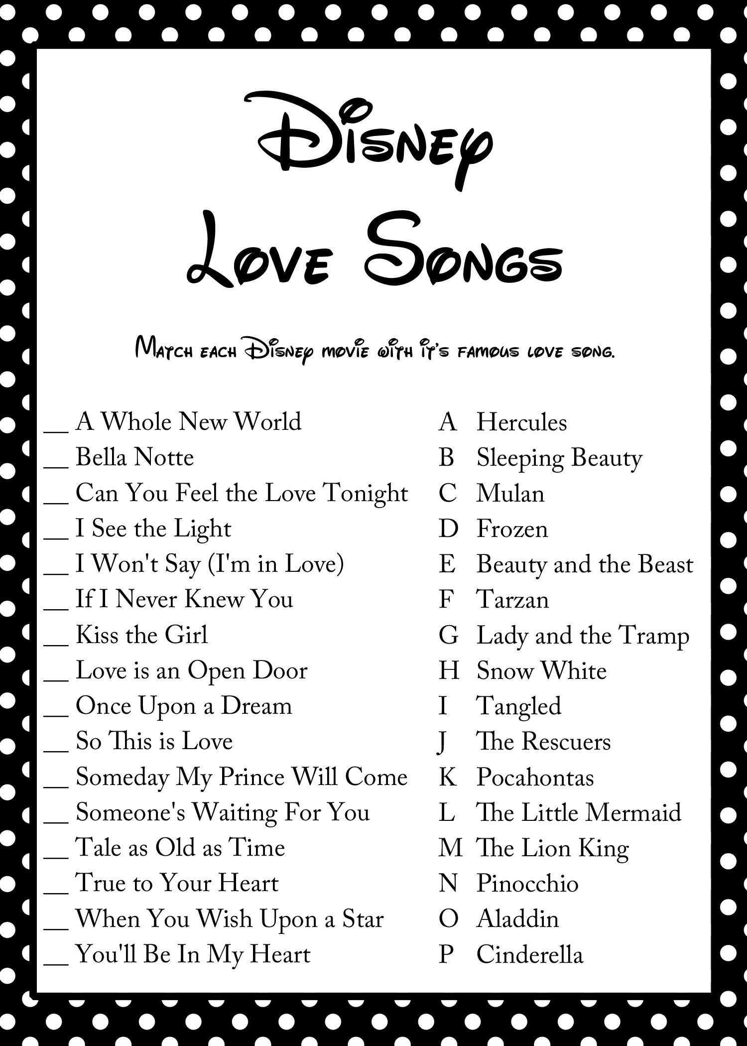 Free Disney Love Song Bridal Shower Game