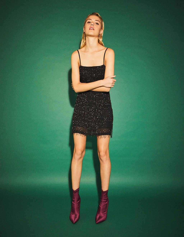 65fe66ad73 Bershka United States - Fringed short dress