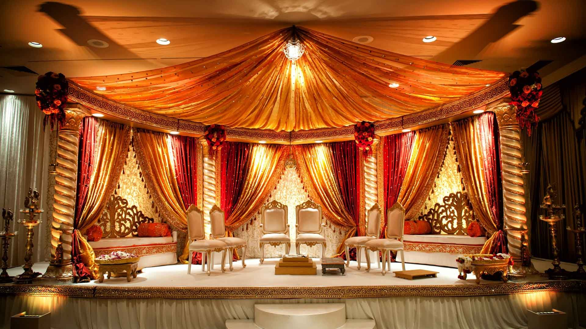 Indian Bridal Decorations Stunning Orange Cream Mandap