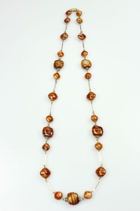 "Original 40s / 50s Vintage Agate Gemstone Single Beautiful 25"" Necklace #agate #40s #50s"