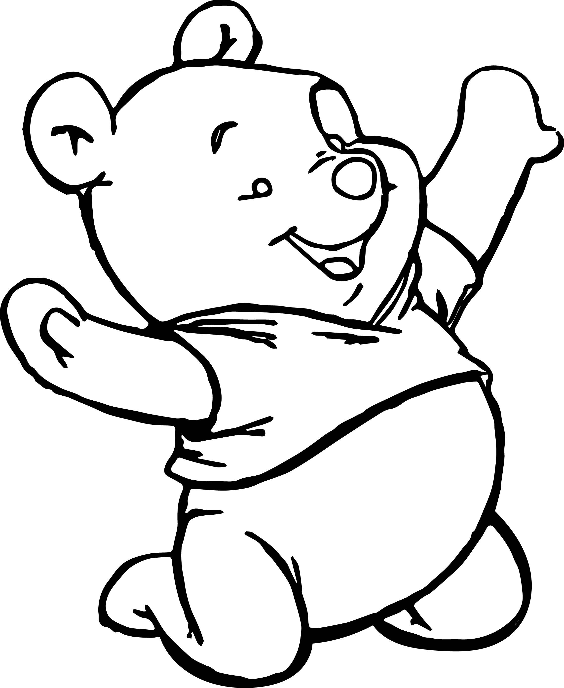 Nice Baby Pooh Playing Coloring Page