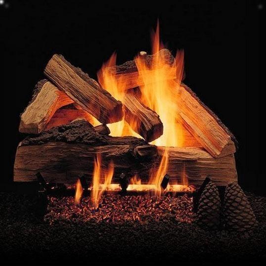 Alpine Flame 18 Inch Grand Mountain Split Oak Vented Natural Gas Log Set +  H Burner   Match Light