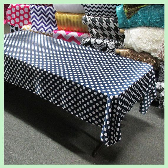 "Tablecloth Rectangle Polka Dot 1/"" Charmeuse 58 X 120 Navy Blue White"
