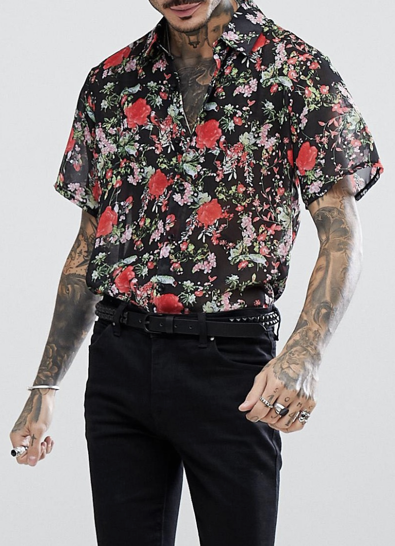 6d623533daf Reclaimed Vintage Inspired Shirt With Short Sleeves In Black With Rose Print  Reg Fit from ASOS