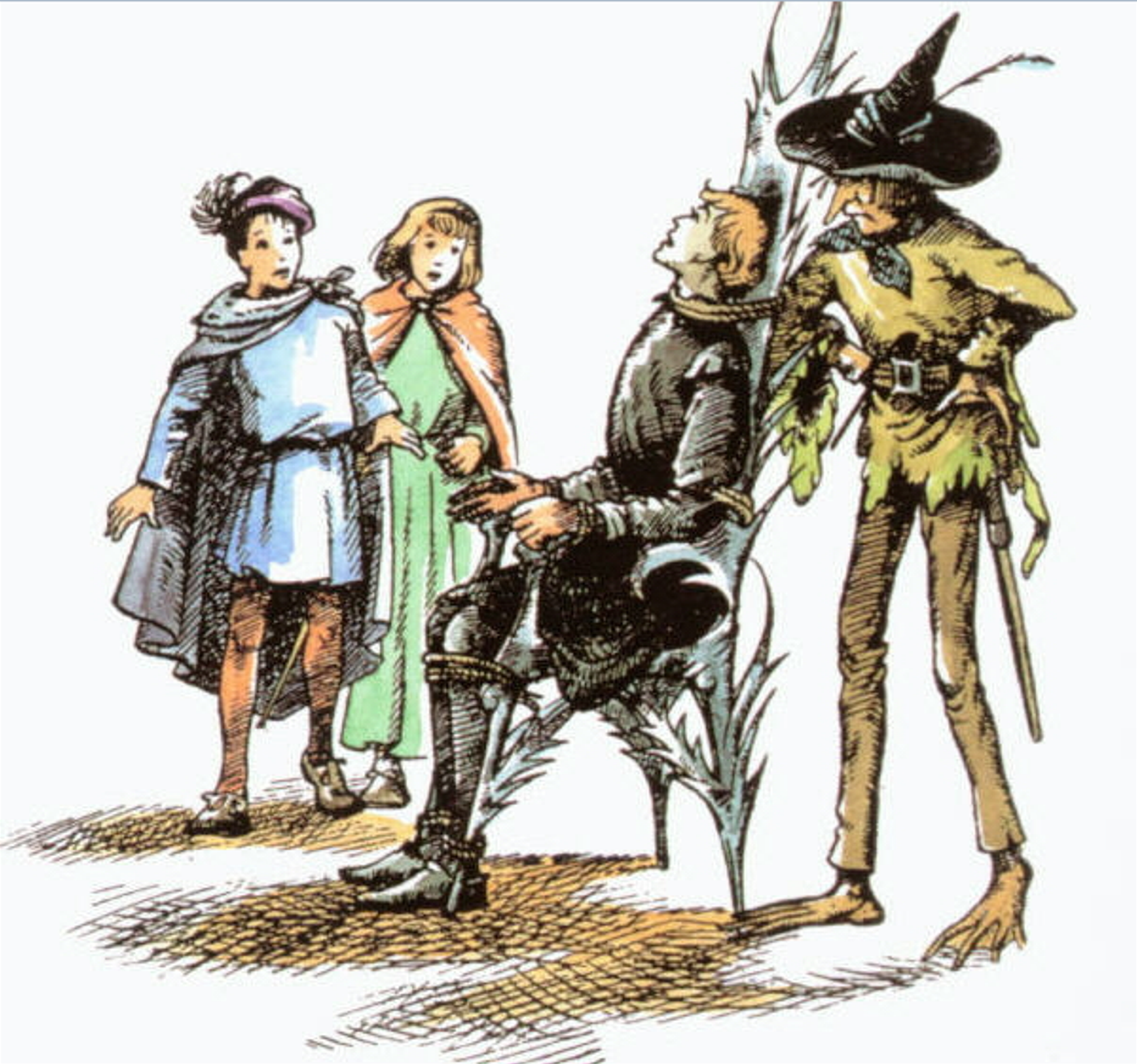 Eustace, Jill, Rillian, and Puddleglum in The Silver Chair
