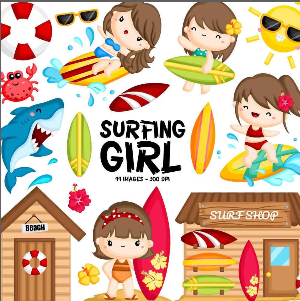 Digital Surfer Girl Clip Art Instant Download Surfing Girl   Etsy   Surfer  girl, Girls clips, Surf girls