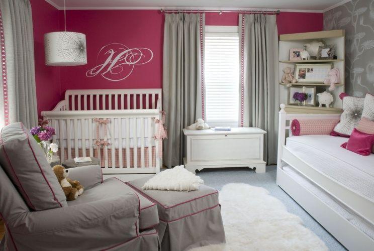 Liz Carroll Interiors Raspberry And Gray Nursery