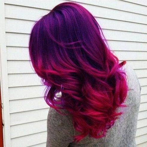 Ombre Starting With Red Violet Into Purple Then Deep Blue Hair Colors Fun Abstract Colors For A Brunette This Summer Hair Color Blue Red Hair Color Blue Hair