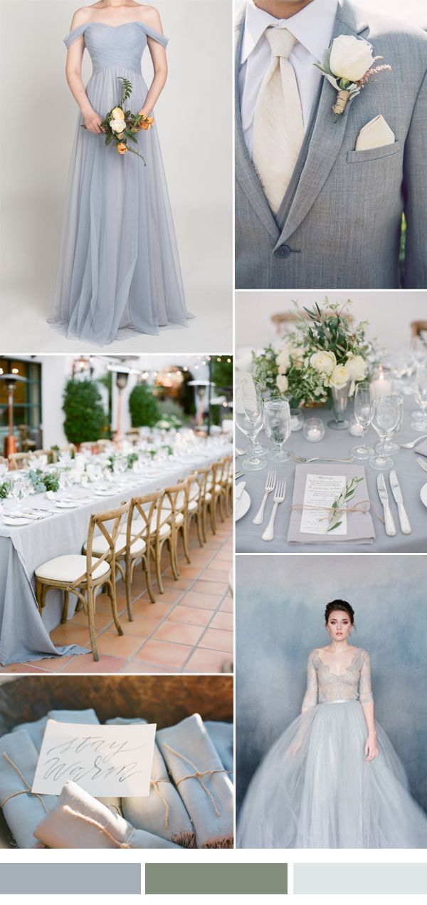 Light Grey Wedding Color Ides With Off Shoulder Bridesmaid Dress