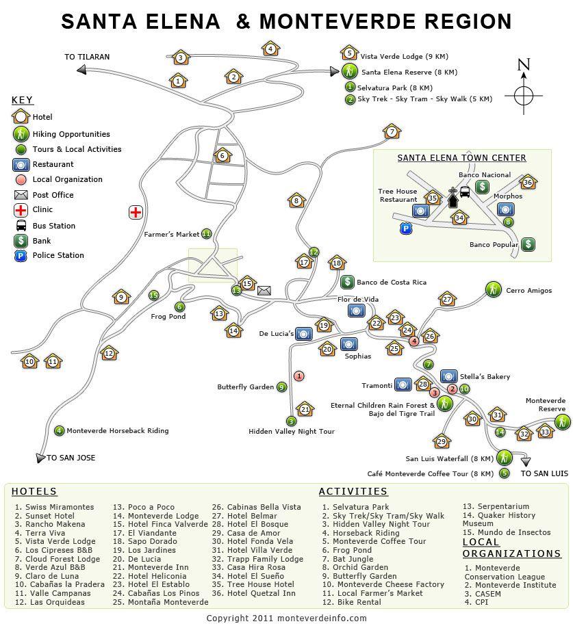 Monteverde Map, Costa Rica